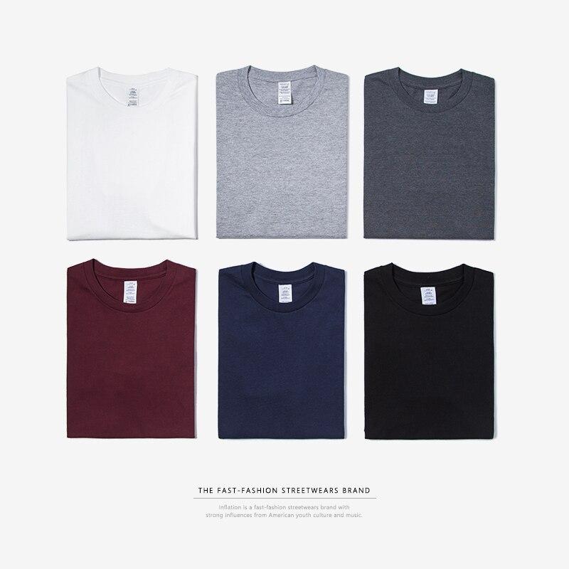 INFLATION Package Sale Plus size fashion men tshirts 100% Cotton O-Neck Men's Plain   T     shirt   25 Solid Colors   T  -  shirt   035S16