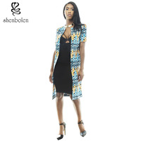 Spring Autumn 2016 Fashion Womens Long Coat African Clothing Batik Printing Short Sleeve Jacket Loose Round
