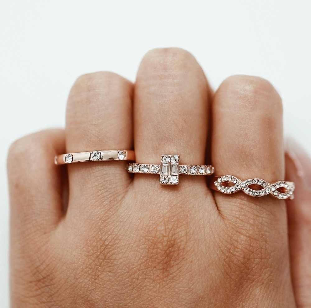 แฟชั่นผู้หญิงแหวน Rhinestone สีขาว Boho หญิงหญิง 18KT Rose Gold Filled แหวนสำหรับผู้หญิง