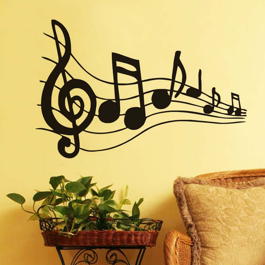 Music Note Sheet Music Art Wall Sticker Baby Nursery Wall Art Decor ...