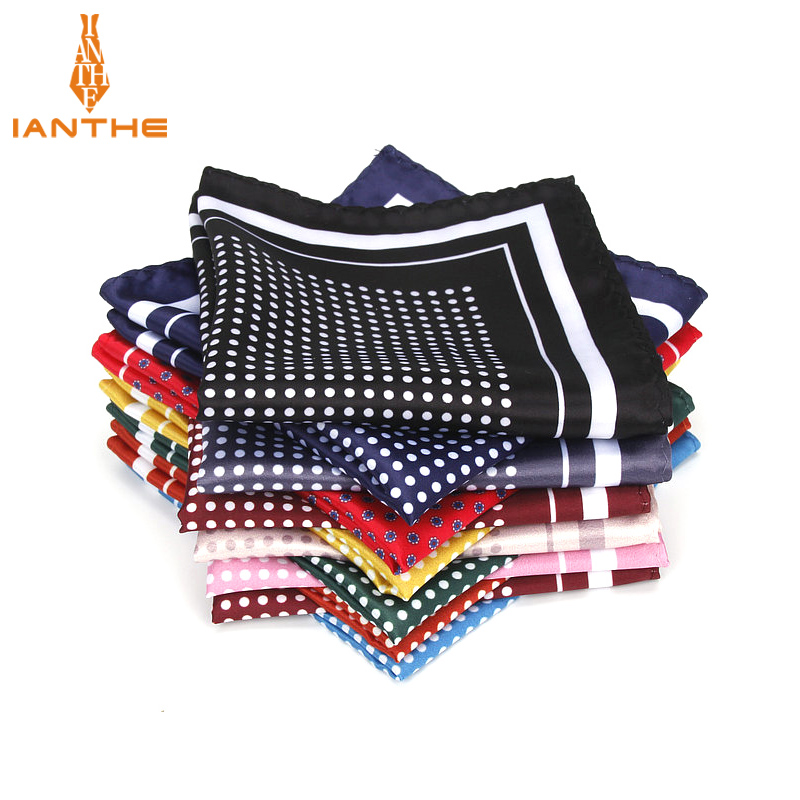 Fashion Men's Handkerchief Vintage Dot Print Pocket Square Polyester Silk Soft Hankies Wedding Party Business Chest Towel Hanky