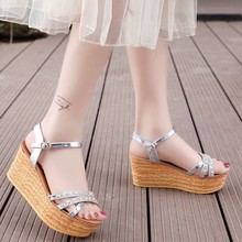 Summer Crystal Women Sandals Wedges Buckle Strap Platform Open Toe Ladies Shoes Sapato Feminino