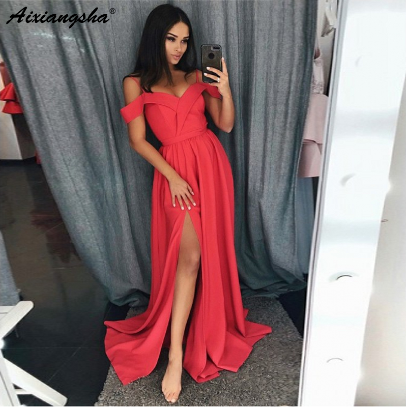 Sleeveless A-Line Spaghetti Straps Satin vestido de formatura longo Pink   Prom     Dress   with Split   Prom   Long Elegant   Dresses   2018