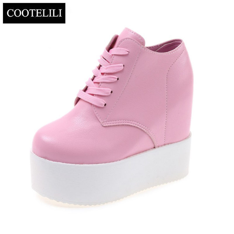 COOTELILI 35-39 Spring Wedges Casual Women Shoes Flat Platform High Heels Solid Round Toe Girls Rubber Increasing Leather Shoes genuine cow leather spring shoes wedges soft outsole womens casual platform shoes high heel round toe handmade shoes for women