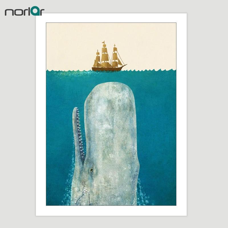 Giclee-plakattrykk på lerret Nordic Heart of the Sea Akvarellhval - Hjemmedekorasjon