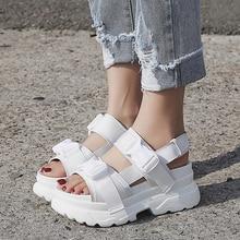 LazySeal-Sandalias para mujer con plataforma suela gruesa y hebillas, zapatos de verano, calzado de playa, cómodo, color negro, blanco