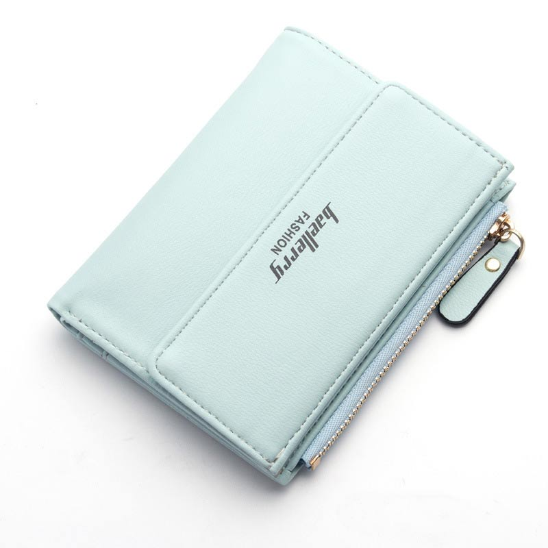 Women PU Leather Wallet Letters Print Zipper & Clasp Coin Pocket Short Purse Clutch Small Wallets BS88