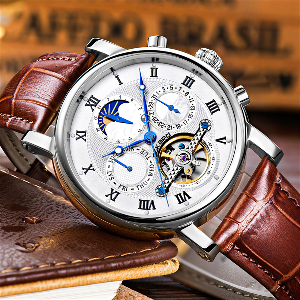 Mens watches Automatic mechanical watch tourbillon clock leather Casual business wristwatch relojes hombre top brand SEKARO Luxu binssaw 2016 men s watch automatic mechanical watch tourbillon clock leather casual business wristwatch relojes hombre top brand