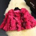 100% Real Fox Fur Coat 2016 Autumn Winter female Fashion 3D fluorescent color short slim true genuine coat women warm M L XL XXL