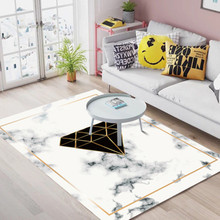 Home luxury carpet Creative geometric marble striped carpets Modern living room coffee table bedroom bedside rugs white fur rug
