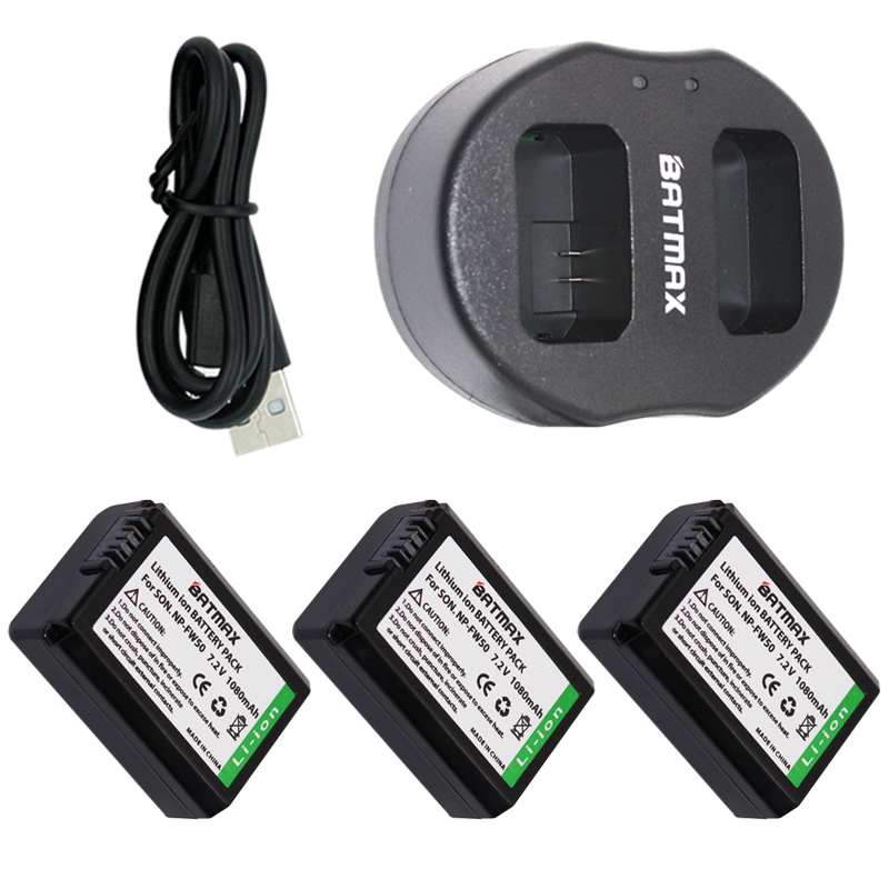 цена на Dual USB Charger& High Capacity NP-FW50 NP FW50 Batteries(3-Pack) for Sony Alpha 7 7R 7R II 7S a7R a7S a7R II a5000 a5100 a6000