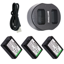 Dual USB Charger& High Capacity NP-FW50 NP FW50 Batteries(3-Pack) for Sony Alpha 7 7R 7R II 7S a7R a7S a7R II a5000 a5100 a6000
