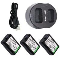 Dual USB Ladegerät & Hohe Kapazität NP-FW50 NP FW50 Batterien (3-Pack) für Sony Alpha 7 7R 7R II 7 S a7R a7S a7R II a5000 a5100 a6000