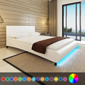 iKayaa modern design artificial leather solid wood bedroom furniture bedroom home furniture with LED ES Stock 140 x 200 cm