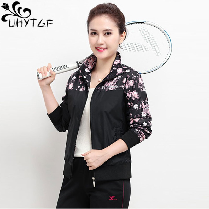 UHYTGF Women   Basic     Jackets   Female Thin Casual Long Sleeves Coats 2019 Spring Autumn Sports   Jacket   Plus size Windbreaker tops 263