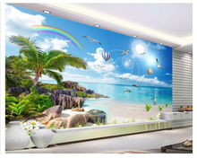 beibehang Ultra HD fashion wallpaper sea view beach coconut tree landscape painting TV background wall papers home decor behang