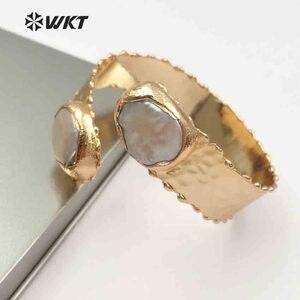 Image 2 - Женский винтажный браслет WKT, регулируемое ювелирное изделие с двойным жемчугом, золотым металлическим гальваническим покрытием, из латуни, устойчивый к сколам