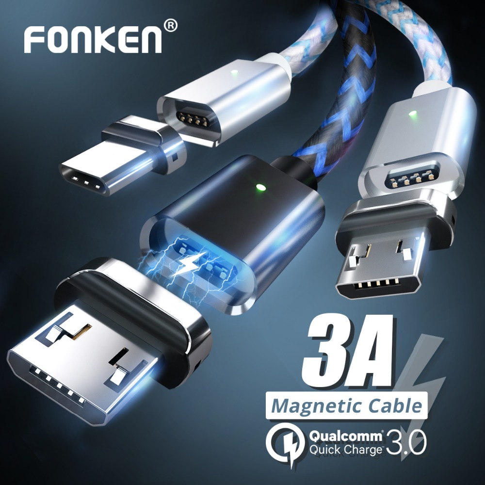 Alert Fonken Micro Usb Magnetic Cable Mini Usb Magnet Phone Cable For Mobile Quick Charger 1m Max 2.4a Led Charge Data Sync Cord Mobile Phone Accessories