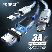 FONKEN Magnetic Micro USB Cable Phone Magnet Mini USB Cable 1m 2.4A Fast Charger Charge Cord Led Sync Data Wire Mobile Cables