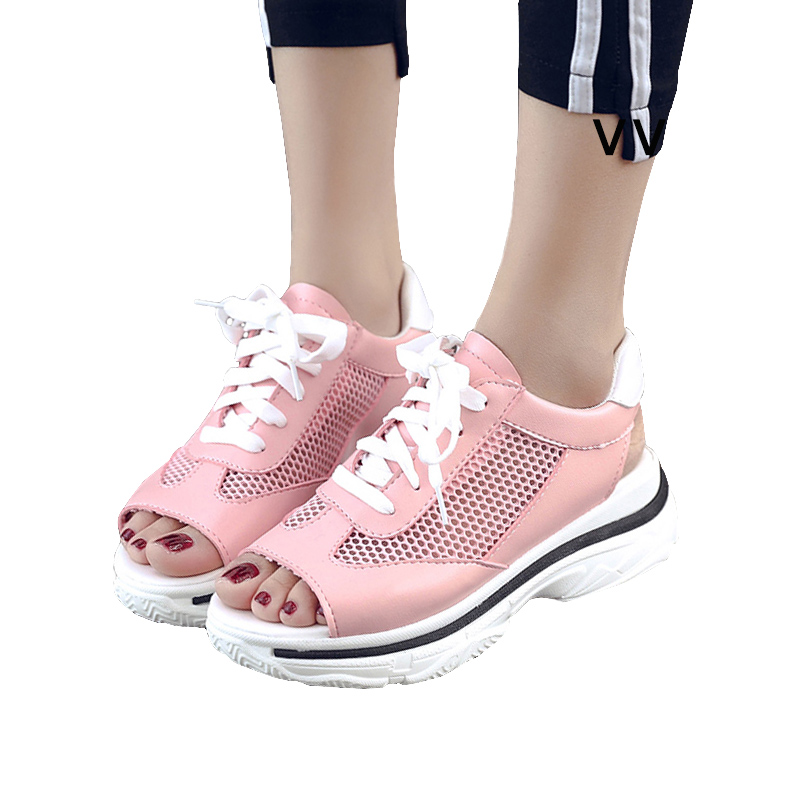 Lucyever Fashion Summer Women's Sandals Casual Mesh Breathable Shoes Women Ladies Comfortable Platform Lace Up Sandalias pinsen 2017 summer women flat platform sandals shoes woman casual air mesh comfortable breathable shoes lace up zapatillas mujer