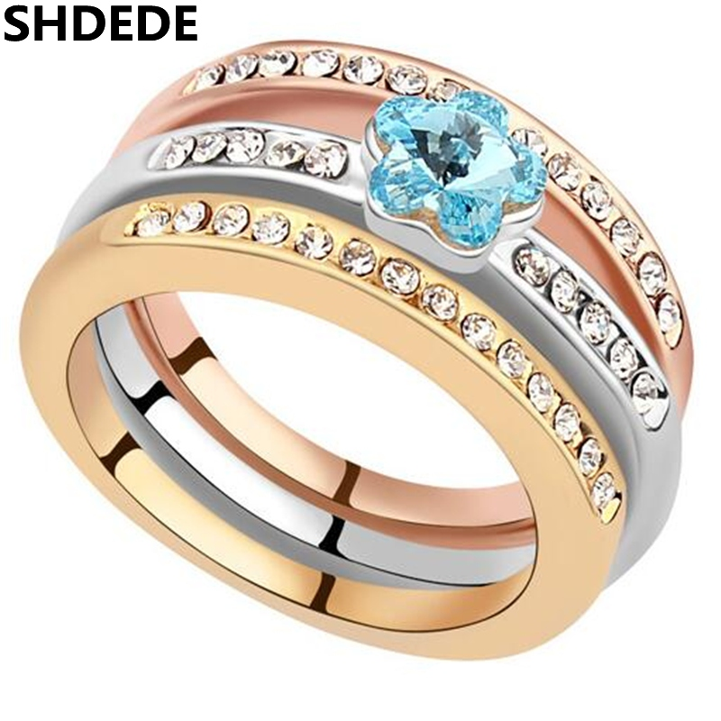 SHDEDE Female Ladies Fashion Accessories Crystal from Swarovski Engagement Ring Wedding Party Jewelry For Women -16652