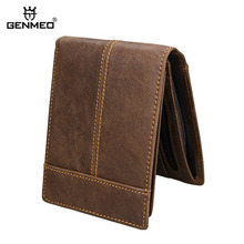 GENMEO New RFID Blocking Genuine Leather Wallet Men Cow Purse Clutch Dollar Bag Coin Bolsa Feminina
