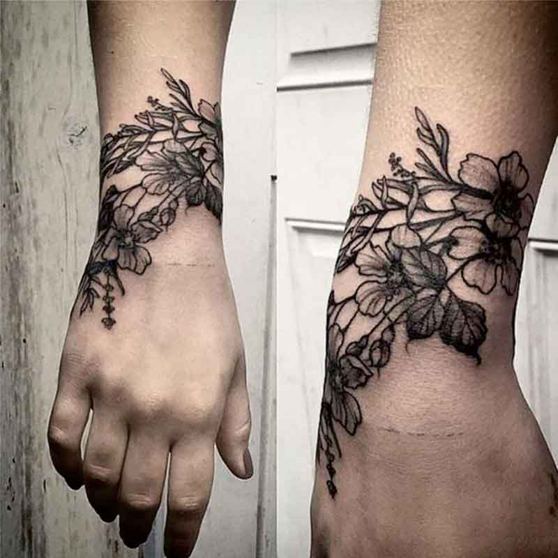 1 piece  Black Henna Cuff Tattoo with Flower Wrist