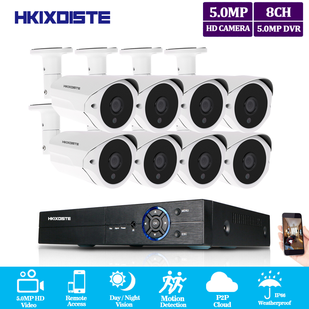 HKIXDISTE 8CH 5MP CCTV Camera System AHD DVR 8PCS 5.0MP HD IR indoor Outdoor Home Security Camera P2P Video Surveillance KitHKIXDISTE 8CH 5MP CCTV Camera System AHD DVR 8PCS 5.0MP HD IR indoor Outdoor Home Security Camera P2P Video Surveillance Kit