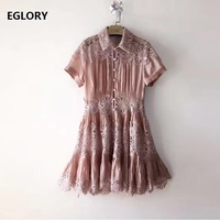 Хлопок белье платье Для женщин аппликации кружева лоскутное короткий рукав длинная рубашка Стиль платье принцессы женские белые Розовое П