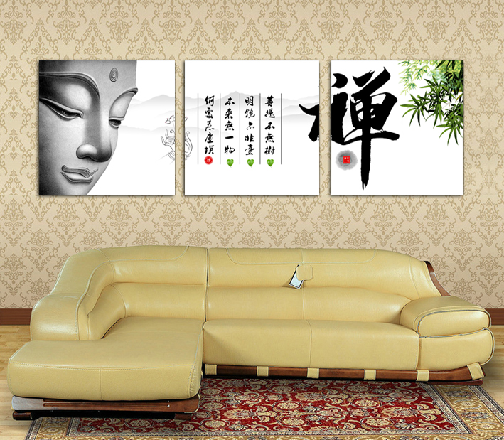 3 Panels Buddhist with handwriting Painting for Living Room Wall Art ...
