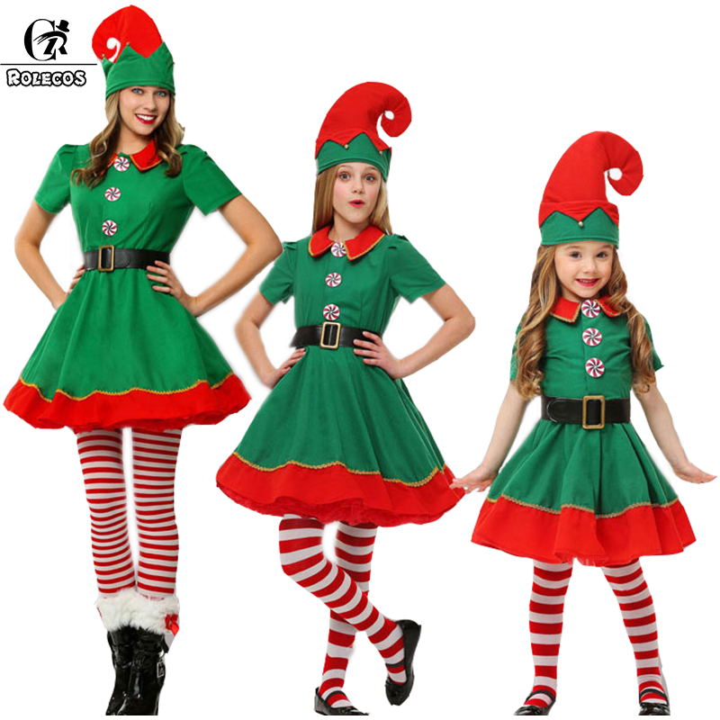 Rolecos Women Elf Christmas Costume Girl Christmas Dress Family Christmas Clothes Cosplay For Kids Family Christmas Dress