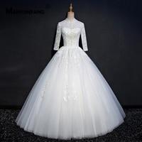 High Neck African Wedding Gowns Regular Full Sleeves Backless Bridal Wedding Dress Pure White Long Wedding Dress