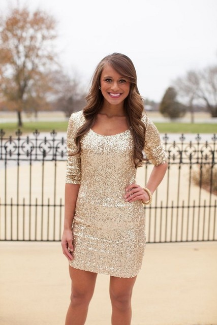 Sparkly Short Gold Sequin Cocktail Dress with Half Sleeve Charming Woman O Neck Short Homecoming Dresses Hot Sale Cheap