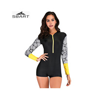 SBART Women Black Print Long Sleeve Rash Guard One Piece Short Quick Dry Snorkeling Swimwear UV Protection for Swimming Surfing