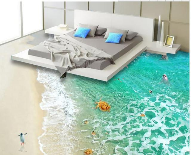 Customized Wallpaper Roll Size 3d Floor Tiles Sea Beach