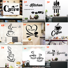 Jiangs Yu 9 Styles New Design Kitchen Wall Stickers Cuisine Coffee PVC house Decoration Wallpaper Art Murals