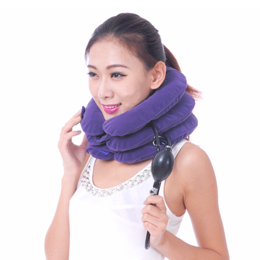 Full velvet Air Neck Cervical vertebra Traction Device Neck Stretcher Massage Relaxation soft  comfortable neck massage care medical neck support orthosis adjustable cervical collar device fixed traction braces vertebra rehabilitation head protection