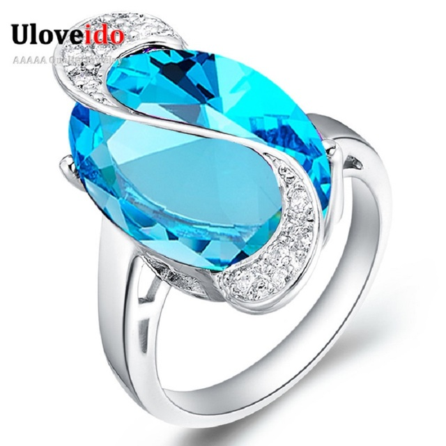 uloveido 50 off wedding rings for women costume jewelry engagement crystal ring female blue rainbow - Female Wedding Rings