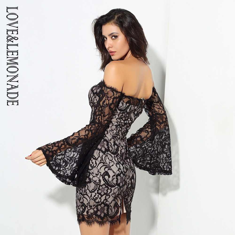 Love & Lemonade черное кружевное платье с открытыми плечами и длинными рукавами LM0626