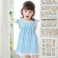 2016 Verão Do Bebê Meninas Vestido de Algodão Projeto Vestido Azul Bebê Roupas para Bebê Recém-nascido Da Criança Meninas da Festa de Aniversário Da Princesa vestido