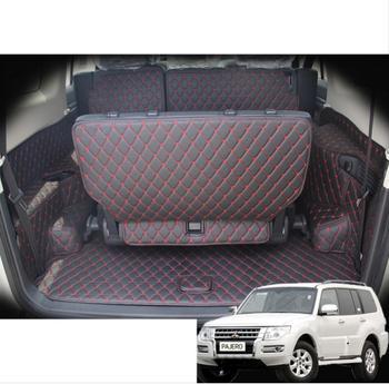 fiber leather car trunk mat for mitsubishi pajero Montero Shogun 2006-2019 2016 2015 2014 2013 2012 2011 2010 car accessories