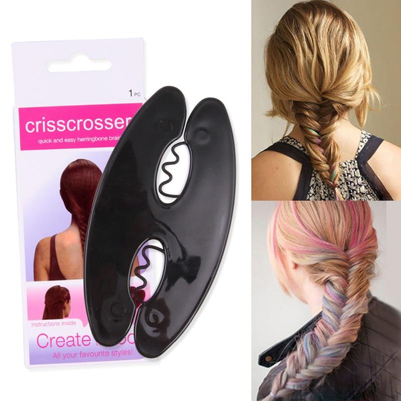 JS French Lady Elegant Women Tool Weave Braid Roller Twist Styling Bun Maker DIY Hair Ba ...