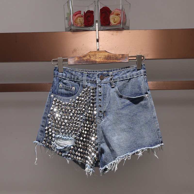 Women fashion sexy hollow out studded denim jeans black shorts hole tassel punk style motorcycle blue shorts new 2018 summer summer women fashion high waist jeans shorts worn hole straight denim shorts solid blue curling edge poket casual shorts