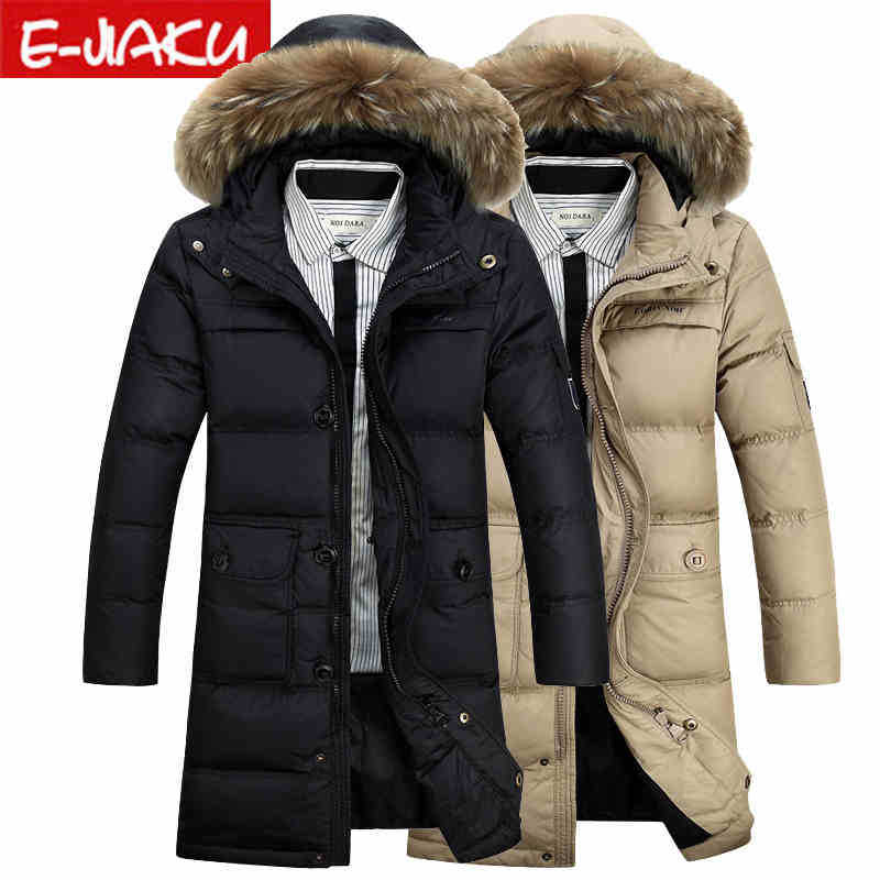 2015 Hot New Thicken Warm Men Down jacket Coat Hooded Raccoon Fur collar Parkas Outerwear Luxury Long Plus Size 4XXXXL Leisure