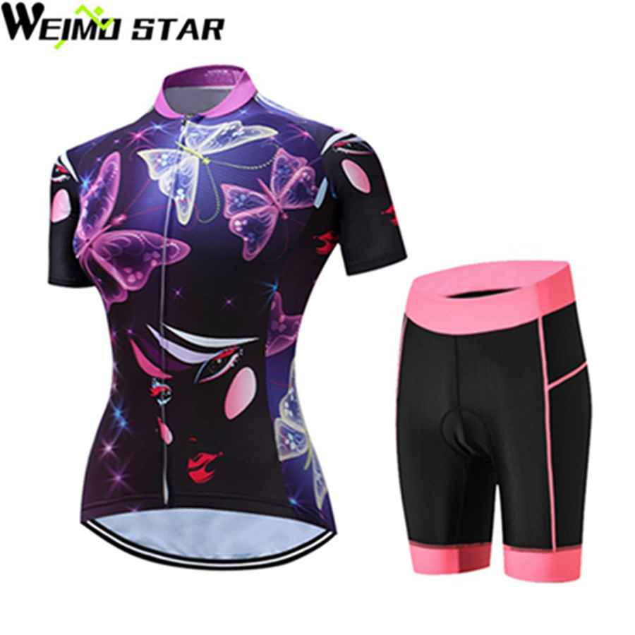 Purple T-Shirt Cycling Jersey WEIMOSTAR Women Cycling Clothing Wear mtb Bicycle Riding Clothes Ropa Ciclismo Bib Shorts Suit