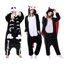Winter Halloween Pajama Sets Cartoon Sleepwear Cosplay Zipper Women Flannel Animal Stitch Skeleton Kigurumi