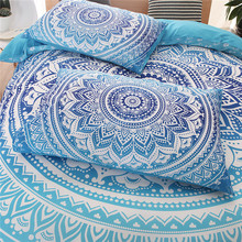 Bohemian bedding sets Mandala Printing Blue Black White boho Single Double Queen King Size Duvet Cover set (no filling,no sheet)