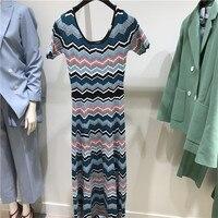 New Clothes 2018 Summer Fashion Striped Fitness Women Short Sleeved Long Dress Europe Brand Ladies Elegant