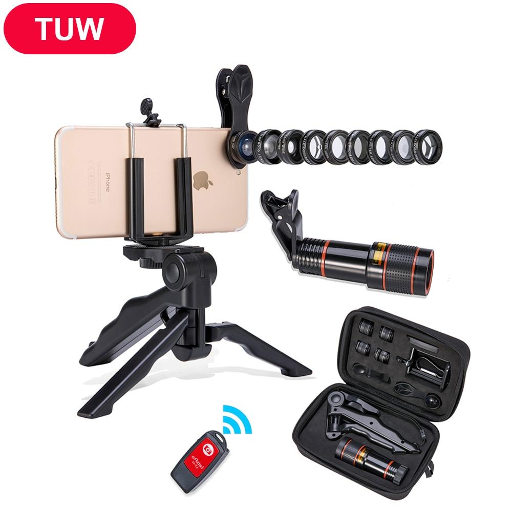 Akinger 4in1 5in1 7in1 10in1 13in1 Phone camera Lens Kit Fisheye Wide Angle macr