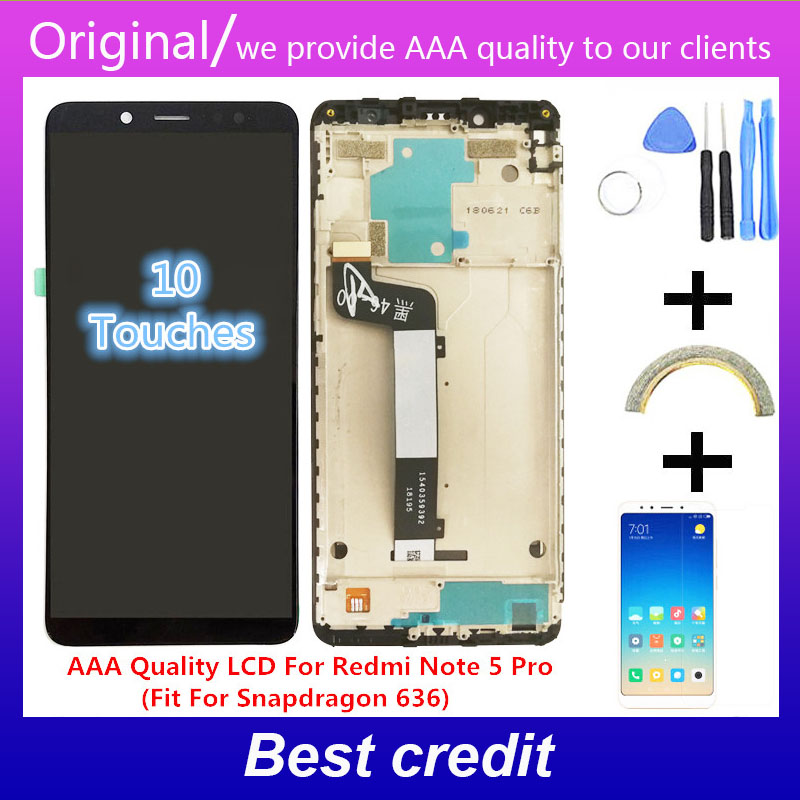 10-Touch AAA Quality <font><b>LCD</b></font>+Frame For Xiaomi <font><b>Redmi</b></font> <font><b>Note</b></font> <font><b>5</b></font> <font><b>Pro</b></font> <font><b>LCD</b></font> Display Screen Replacement For <font><b>Redmi</b></font> <font><b>Note</b></font> <font><b>5</b></font> <font><b>LCD</b></font> Snapdragon 636 image